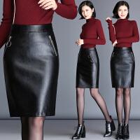 包臀皮裙半身裙 新款秋冬中长款高腰皮包裙女裙子中裙一步裙 黑色