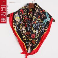 上海故事都挺好苏明玉同款围巾印花大方巾真丝丝巾女红桑蚕丝披肩