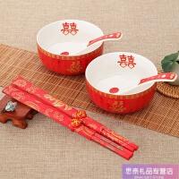 结婚礼物情侣陶瓷碗喜碗吃饭碗 新娘陪嫁碗勺筷套装婚庆用品