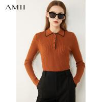 【券后�A估�r:88元】AMII小��雅香�Lpolo�I修身毛衣2020秋季新款打底上衣女白色��衫