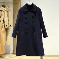 双面呢大衣女中长款2017冬装新款 韩版翻领双排扣纯色毛呢外套