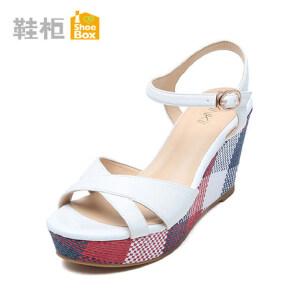 达芙妮集团 鞋柜夏季坡跟厚底凉鞋韩版新款拼色松糕鞋高跟鞋女鞋0