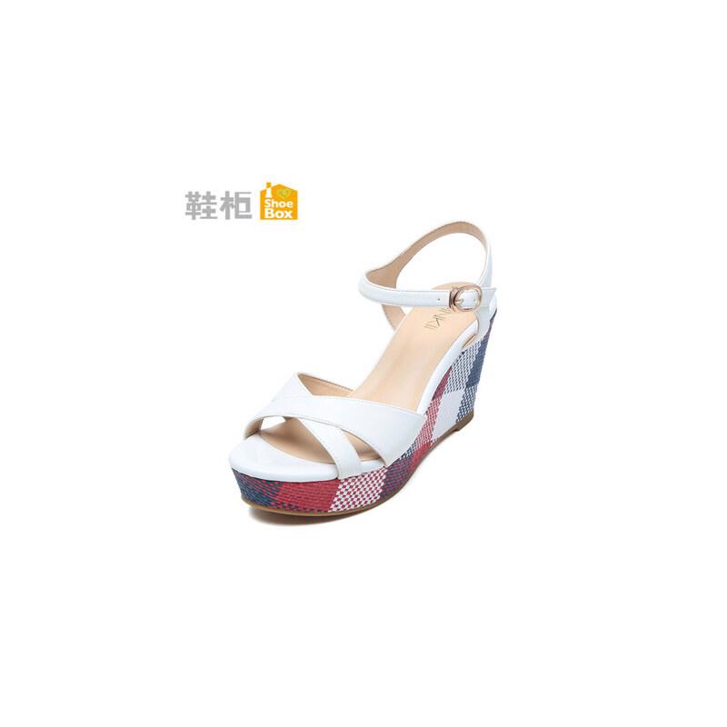 达芙妮旗下shoebox鞋柜夏季坡跟厚底凉鞋韩版新款拼色松糕鞋高跟鞋女鞋