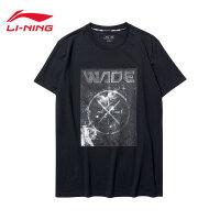 李宁短袖T恤男士新款韦德系列吸湿纯棉圆领运动衣夏季运动服AHSN069