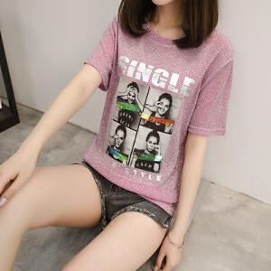 春夏新款亮丝印花短袖T恤女韩版宽松短款上衣字母人物印花套头薄 不起球不褪色