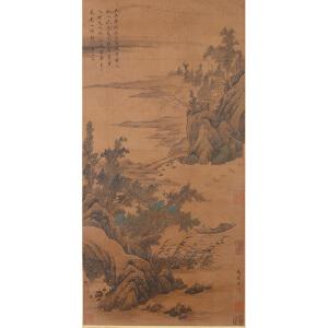 L1499马达《归舟访友图》(王文治提拔,多位名家收藏章)
