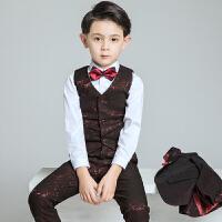 小主持人钢琴演出服儿童礼服男孩西装马甲套装