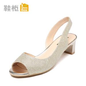 达芙妮集团 鞋柜夏季新款韩版休闲粗跟女鞋侧空性感鱼嘴中跟凉鞋-8