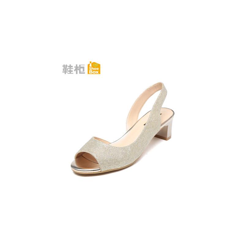 达芙妮旗下shoebox鞋柜夏季新款韩版休闲粗跟女鞋侧空性感鱼嘴中跟凉鞋