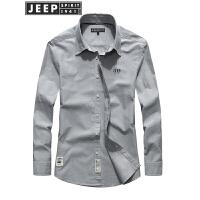 吉普JEEP正品长袖衬衫男春秋青年潮流衬衣时尚休闲男装全棉修身衬衫