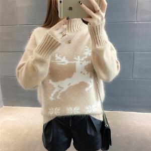 RANJU然聚2018春夏女装新品新款韩版宽松套头高领毛衣女少女百搭时尚学生打底潮
