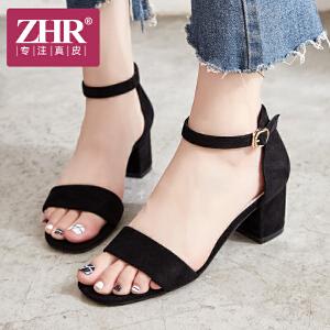 ZHR凉鞋女高跟简约时尚包跟一字扣带鞋韩版百搭露趾粗跟女鞋2018夏新品