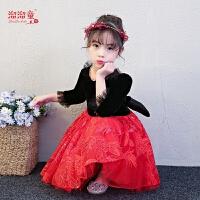 儿童主持人公主裙钢琴演出服模特走秀晚礼服冬女童礼服蓬蓬裙长袖