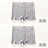 2条 防走光蕾丝边打底裤少女性感无痕内裤女士中腰平角纯棉安全裤 均码