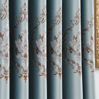 欧式窗帘成品双面提花布料客厅卧室全遮光飘窗落地帘隔音遮阳 宽4.0米*高2.7米 可改高
