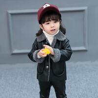 男女童加绒 外套2017秋冬装新款小宝宝pu皮夹克儿童装韩版上衣lm 黑色 80cm