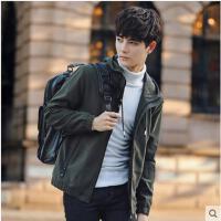 青年连帽纯色帅气薄款休闲男装夹克男士外套棒球服韩版运动衣服