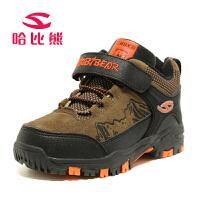 哈比熊品牌童鞋男童冬季款皮儿童棉鞋保暖雪地靴子户外运动鞋A60H1