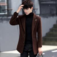 新款呢子大衣男中长款连帽韩版宽松潮男呢大衣冬季毛呢外套潮 棕色 M