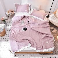 水洗棉空调被夏被薄被春秋被子床单四件套1.5/1.8m学生宿舍三件套 夏被200X230 枕套2个