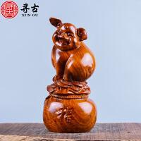 木雕猪摆件大号可爱实木发财猪家居饰品客厅工艺品