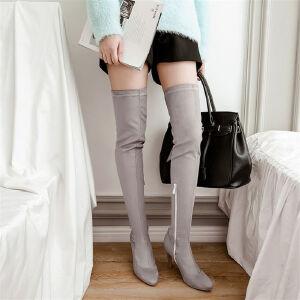 O'SHELL欧希尔新品133-9428欧美磨砂绒面高跟女士过膝长靴