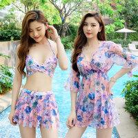 比基尼新款泳衣女性感三件套bikini韩国ins风显瘦遮肚带钢托
