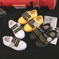 儿童帆布鞋春秋款低帮男童女童鞋魔术贴休闲布鞋日系板鞋