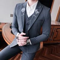 年男士休闲西装韩版修身小西服男青年潮流商务正装单西服外套 灰色 L