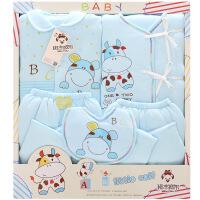 班杰威尔 秋冬加厚保暖新生儿礼盒 纯棉婴儿内衣5件套初生满月宝宝套装用品 加厚小肥牛款