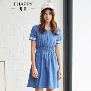 海贝2018夏装新款女 学院风海军领松紧收腰字母印花牛仔裙连衣裙