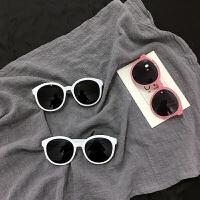原宿墨镜女复古圆框太阳镜米边框修脸果冻粉眼镜