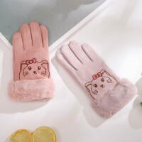 儿童手套冬季保暖韩版可爱小学生加绒五指女孩6-11岁秋冬天中大童