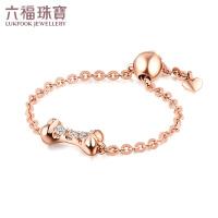 六福珠宝可爱骨头18K玫瑰金戒指可调节钻石戒指女彩金尾戒定价 N087
