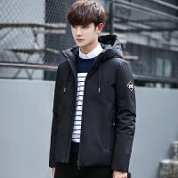 新款冬季短款修身羽绒服男款学生韩版潮流帅气男士白鸭绒连帽外套