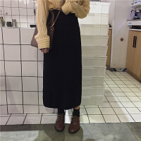 秋冬女装新款韩版显瘦高腰针织A字裙中长款半身裙长裙学生潮