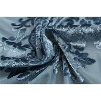 高档欧式半遮光客厅卧室门帘丝绒窗帘布料进口法兰绒原料特价定制 孔雀蓝