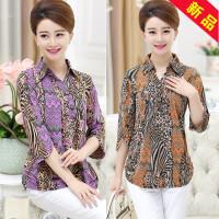 中老年女装衬衫夏款上衣开衫薄 中年妇女妈妈装时尚花色衬衫40-50
