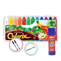 旋转蜡笔12色/24色 宝宝colorix水溶性油画棒 儿童绘画笔 12色【赠送固体胶+勾线笔+笔刷】 领券更优惠