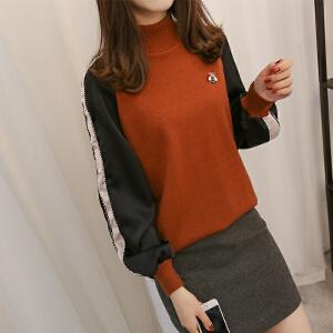 2018短款半高领加厚套头毛衣女新款韩版长袖宽松百搭针织打底衫潮
