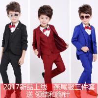 4儿童西服男小西装三件套1-3岁宝宝燕尾服6男童8男宝礼服套装秋潮
