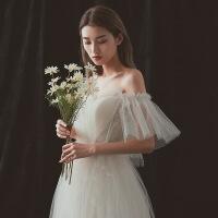 2018秋季新款轻婚纱礼服2018新款新娘显瘦公主梦幻出门纱森系超仙齐地 图片色