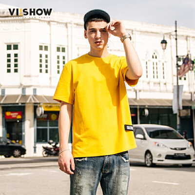 viishow夏季新品圆领套头短袖T恤男字母装饰男士短T上衣舒适纯棉满199减20/满299减30/满499减60 全场包邮