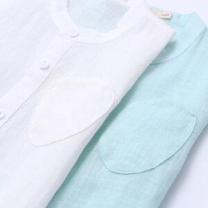 【下单立享5折】amii童装2017新款儿童短袖衬衫男童上衣半袖中大童宝宝纯色衬衣