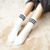 袜子女薄款白色长袜韩国美腿运动袜中高筒袜三杠堆堆袜秋冬学院风 奶白彩杠 3双 均码