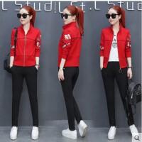 韩版显瘦休闲运动套装女 新款立领开衫印花宽松棉卫衣三件套运动服