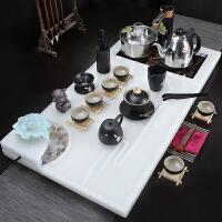 【品牌热卖】玉石茶盘套装欧式茶台四合一电磁炉一体茶具套装现代家用自动 流水汉白玉+铜边黑陶 18件