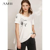 Amii极简圆领短袖花鸟印花宽松T恤女2021夏季新款百搭白色上衣潮
