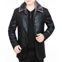 冬季新款男装男士真皮皮衣夹克皮毛一体加绒厚绵羊皮外套 黑色 0/M