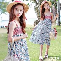 女童连衣裙夏季纯棉中大童装洋气碎花吊带裙海边度假沙滩公主裙子
